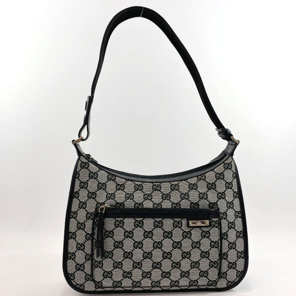 GUCCI Shoulder Bag 001.4198 one belt GG canvas/leather/Nylon Black Women Used