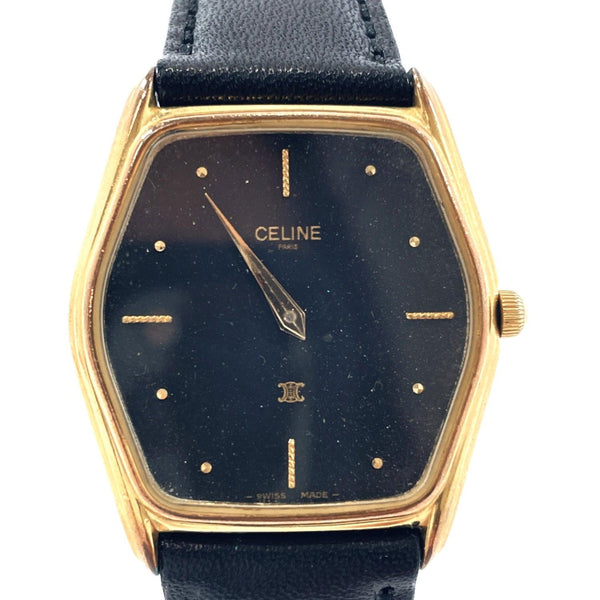 CELINE Watches 2500 quartz vintage Stainless Steel gold Black unisex Used