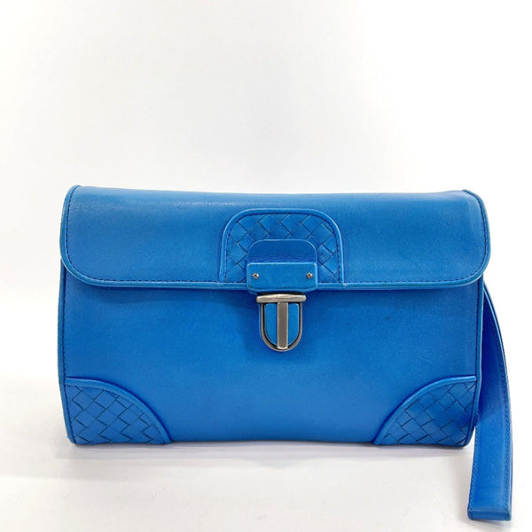 BOTTEGAVENETA Clutch bag Intrecciato leather blue mens Used