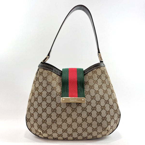 GUCCI Shoulder Bag 233608 one belt Sherry line GG canvas Brown Women Used