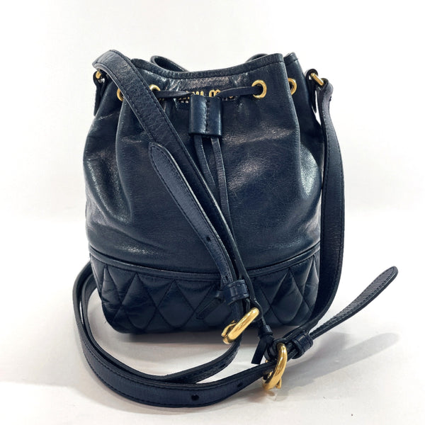 MIUMIU Shoulder Bag drawstringShoulder leather Navy Women Used