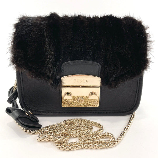 Furla Shoulder Bag 236826 Metropolitan leather Black Women Used