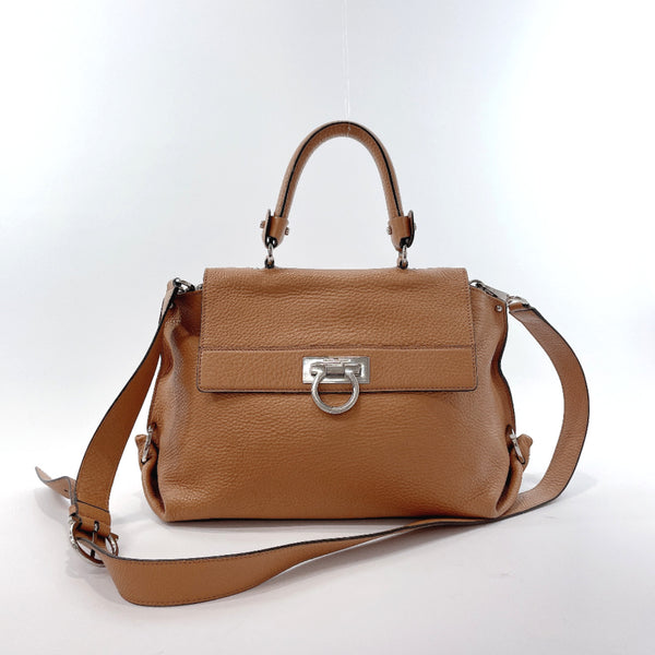 Salvatore Ferragamo Handbag BW-21 A896 Gancini leather light brown Women Used