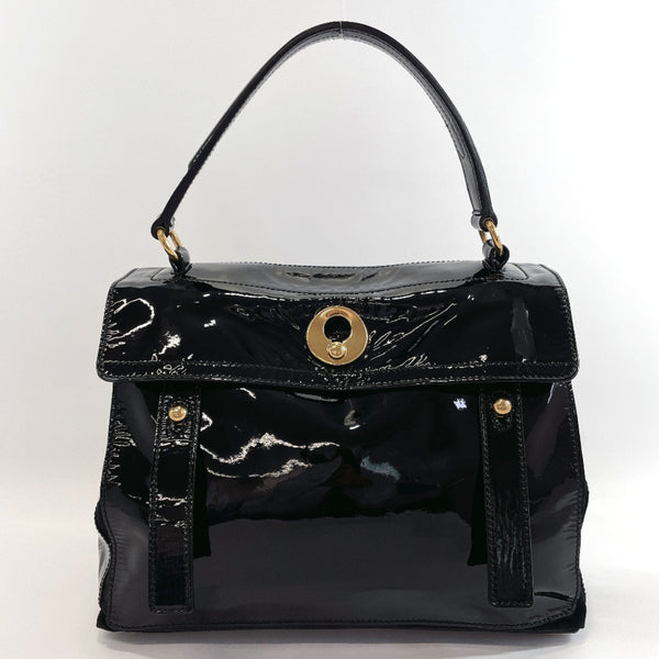Yves Saint Laurent rive gauche Handbag 197149 Muse toe Patent leather/Suede Black Women Used