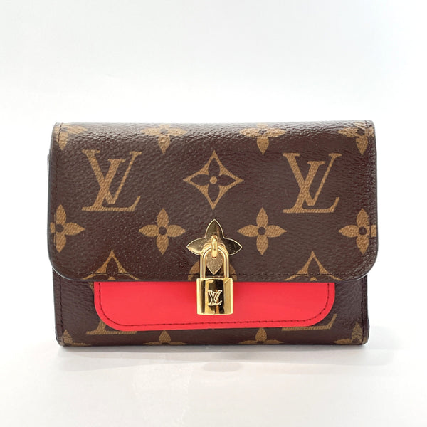 LOUIS VUITTON Tri-fold wallet M62567 Portefeiulle Flower Compact Monogram canvas Brown Red Women Used