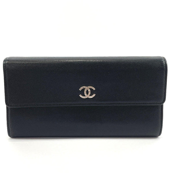 CHANEL purse COCO Mark Matt caviar skin Black Women Used