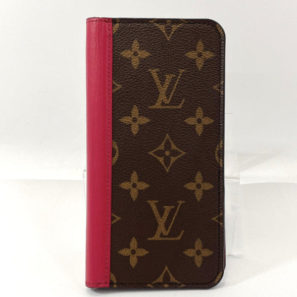 LOUIS VUITTON Other accessories M68685 iPhone XS Max Case Folio Monogram canvas Brown Bordeaux (fuchsia) Used