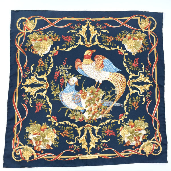 Salvatore Ferragamo handkerchief silk Navy Women Used