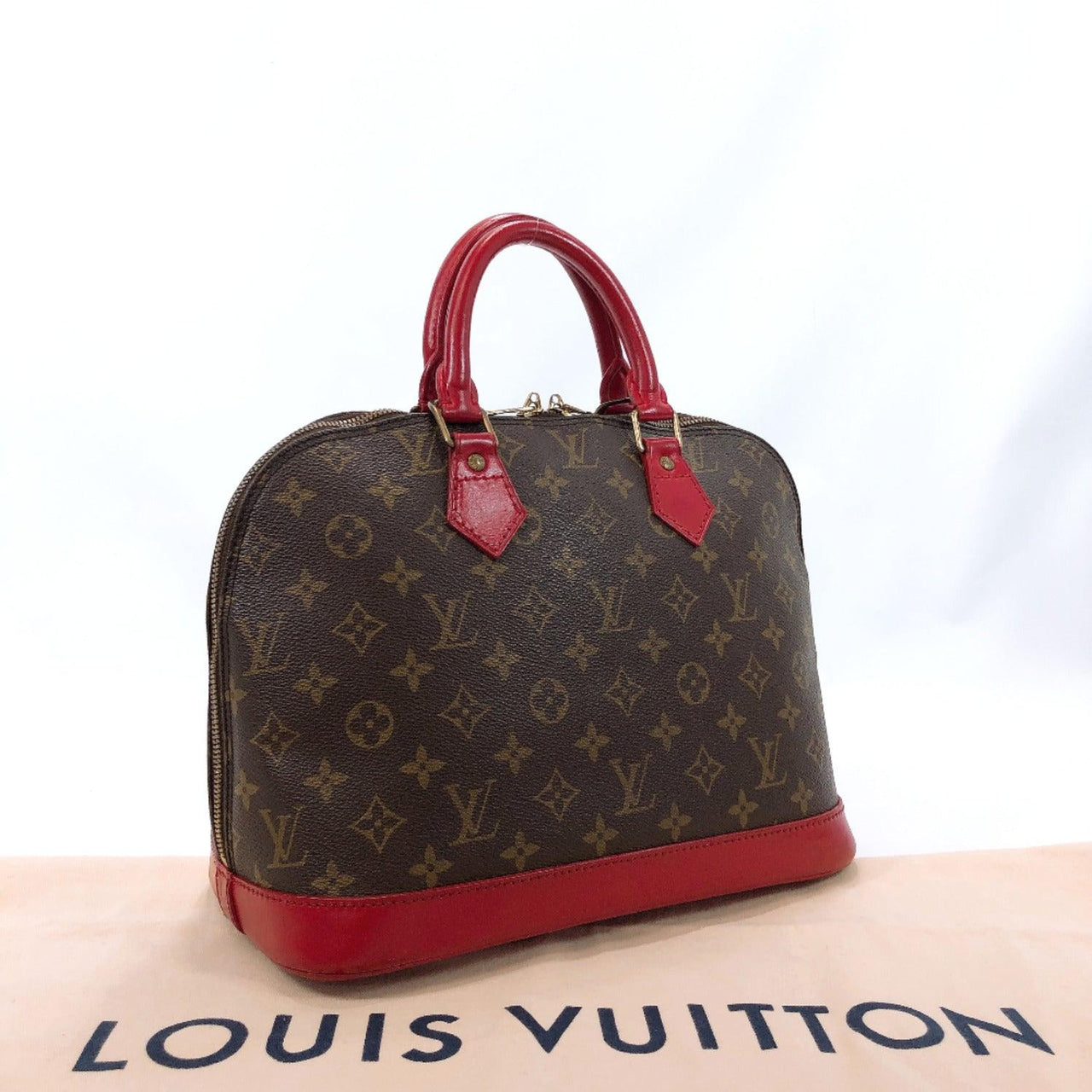LOUIS VUITTON Handbag M51130 Alma PM vintage Monogram Brown Red Customized Used