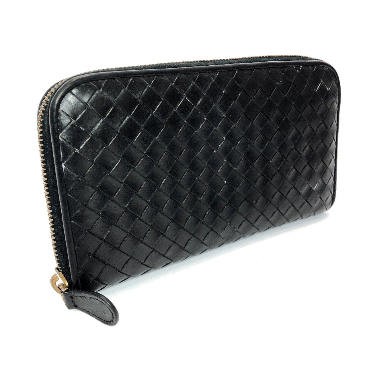 BOTTEGAVENETA purse 114076 VAHF1 1000 Intrecciato leather black unisex Used - JP-BRANDS.com