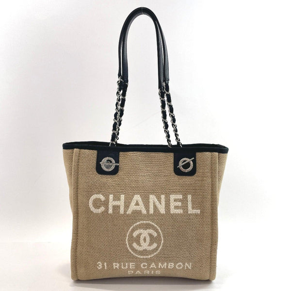 CHANEL Tote Bag Deauville PM canvas beige Black Women Used