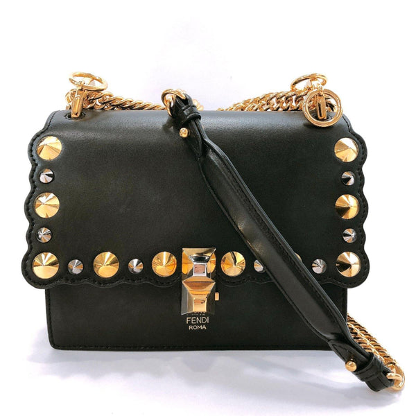 FENDI Shoulder Bag 8M0381 A13G Mini canay Studs leather black gold Women Used