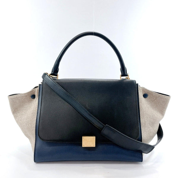 CELINE Handbag 169542PTC070C Trapeze 2way leather Navy black Women Used