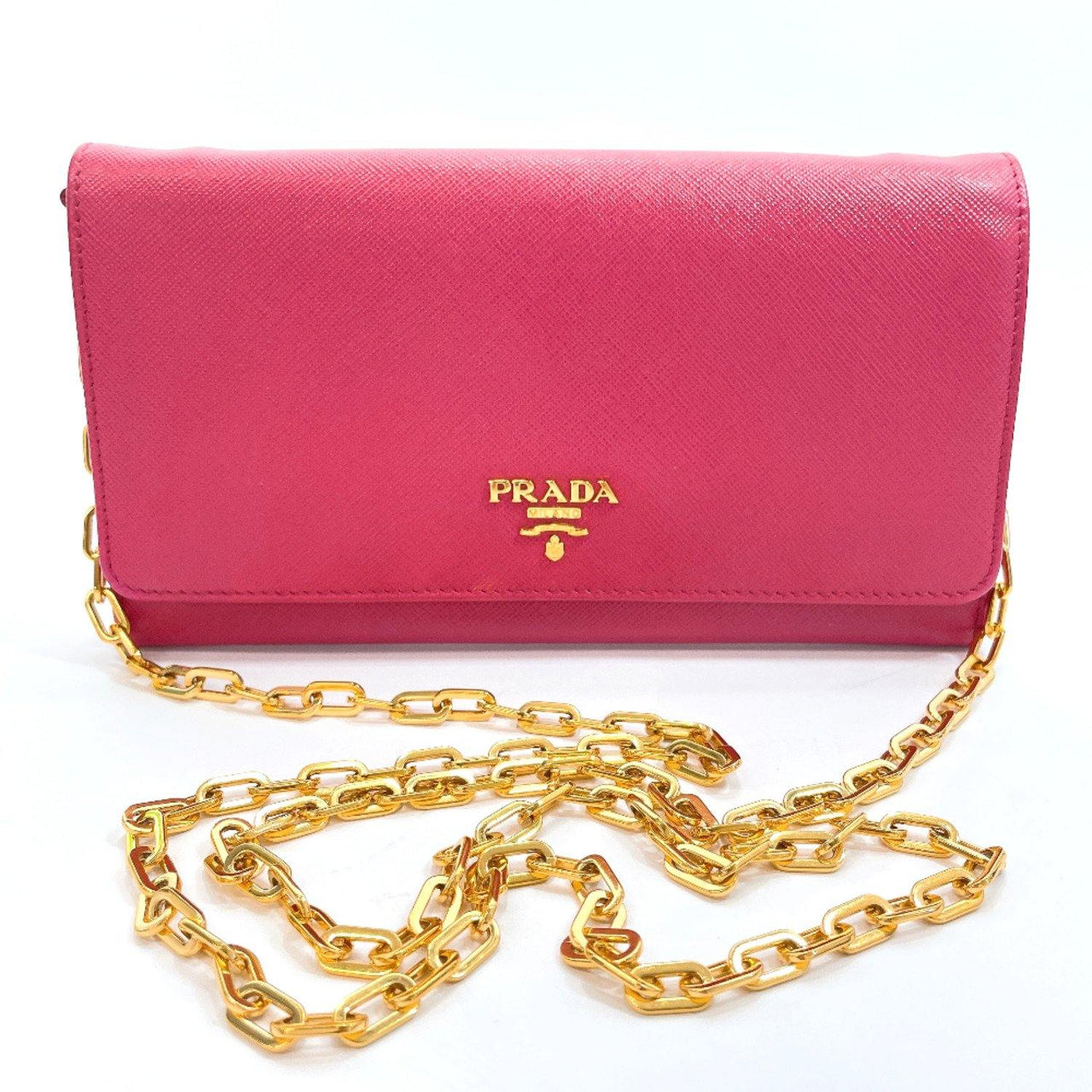 PRADA purse 1MT290 Chain wallet Safiano leather pink gold Women Used