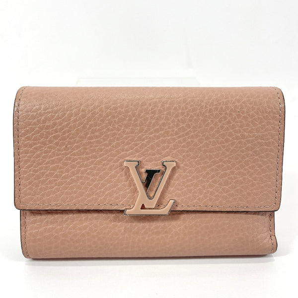 LOUIS VUITTON Tri-fold wallet M62156 Capsine compact Taurillon Clemence Pink (magnolia) Women Used