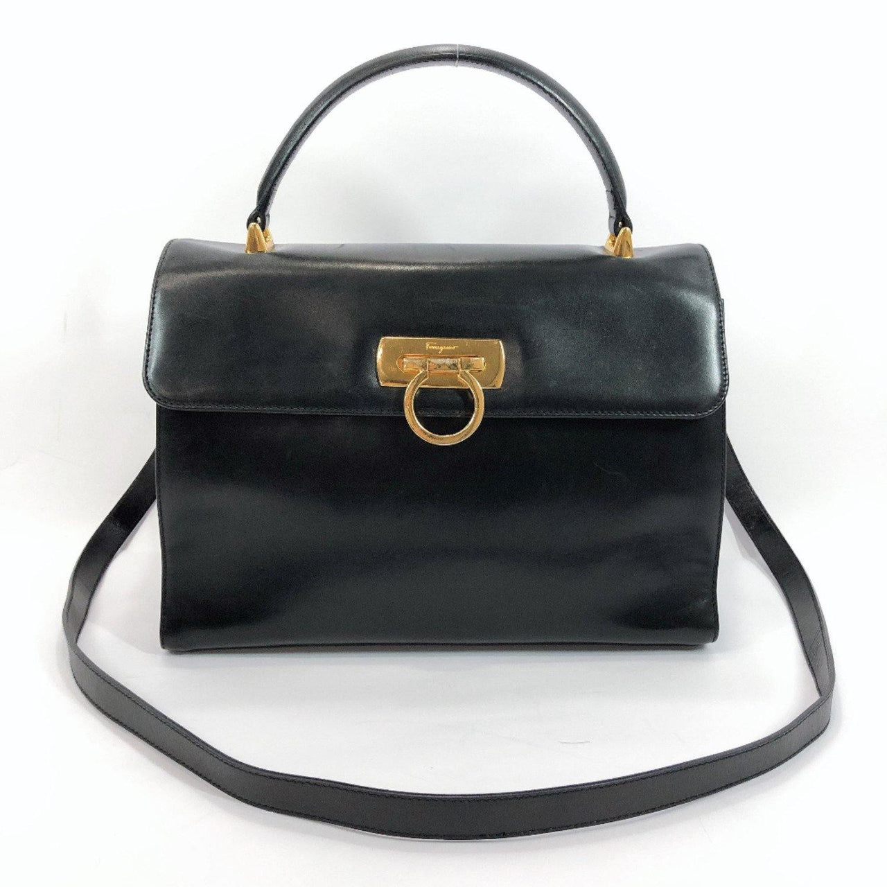 Salvatore Ferragamo Handbag Gancini leather black Women Used - JP-BRANDS.com