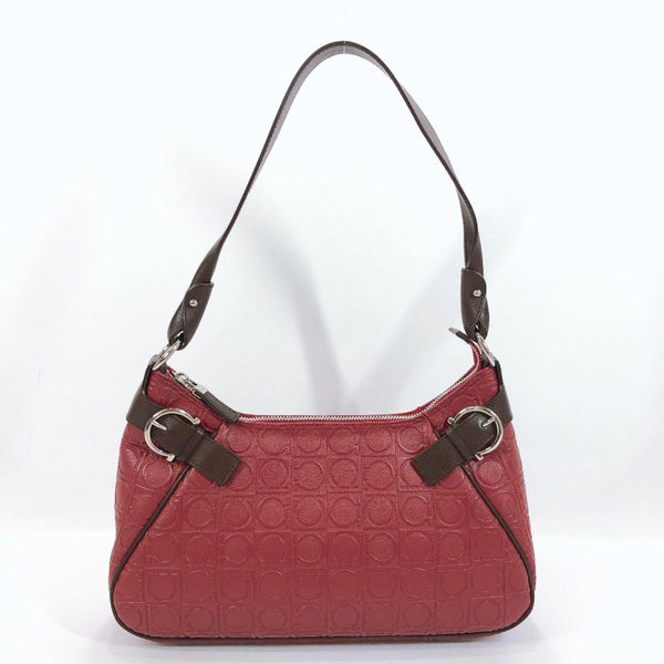 Salvatore Ferragamo Handbag AU21-4436 Gancini PVC/leather wine-red Brown Women Used
