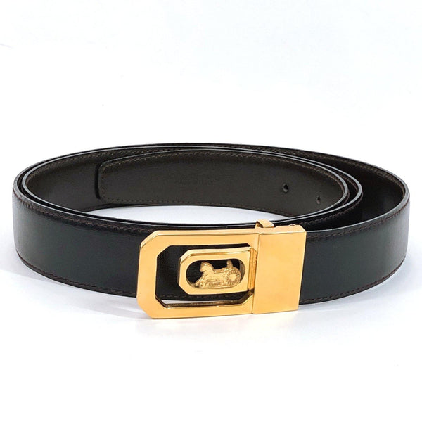 CELINE belt Carriage hardware leather black gold mens Used