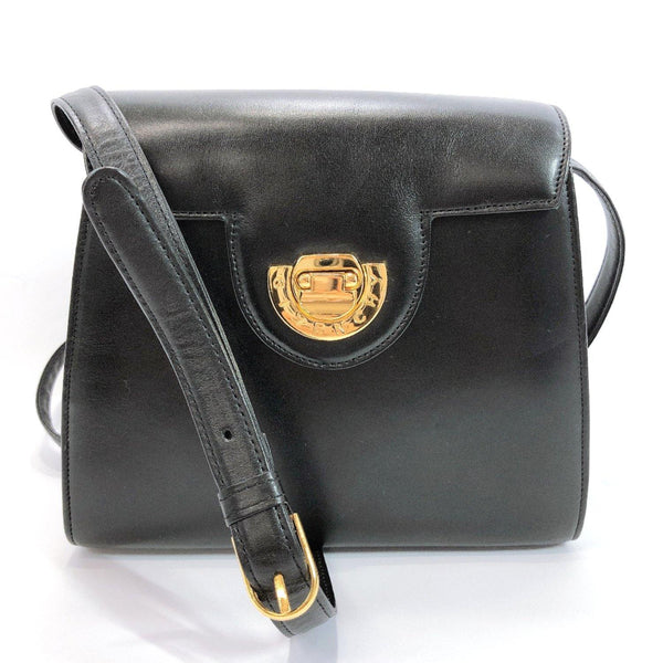 GIVENCHY Shoulder Bag vintage leather black gold Women Used