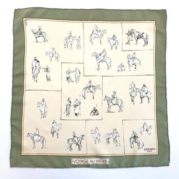 HERMES scarf Petit Carre silk beige Women Used