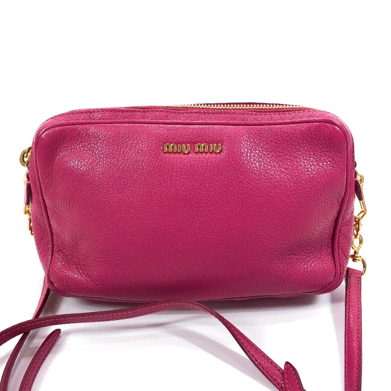 MIUMIU Shoulder Bag RT0539 leather pink Women Used
