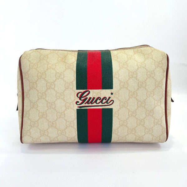 GUCCI Pouch 189818 Sherry line GG Supreme Canvas beige Women Used