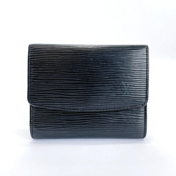 LOUIS VUITTON Card Case M63412 Portonne Simple Epi Leather black mens Used