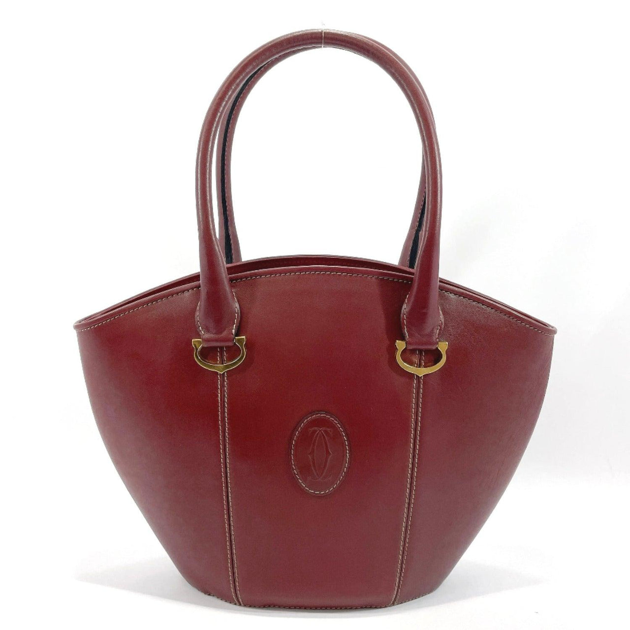 CARTIER Handbag Must de Cartier leather Bordeaux gold Women Used