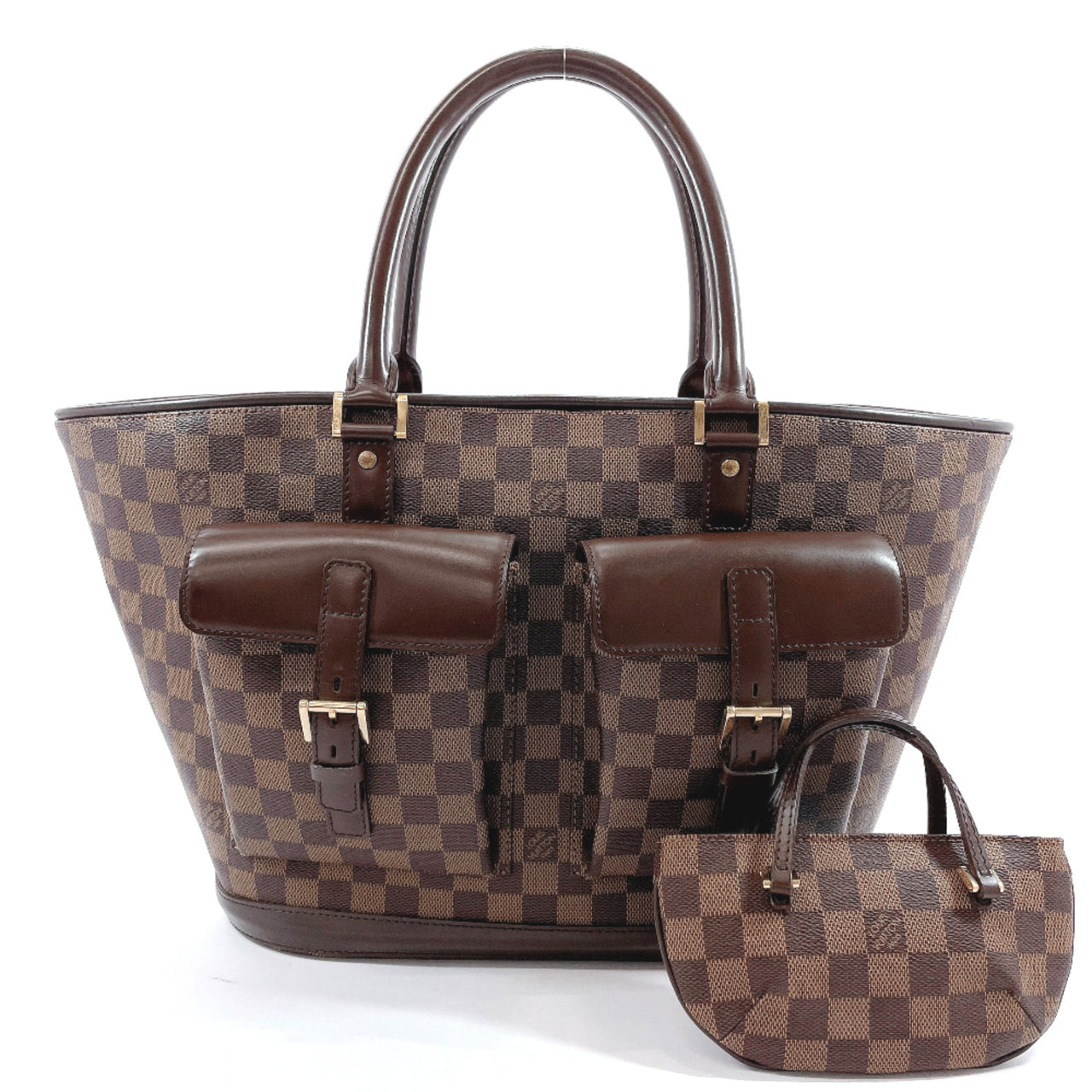 LOUIS VUITTON Tote Bag N51120 Manosque GM Damier canvas Brown Women Used