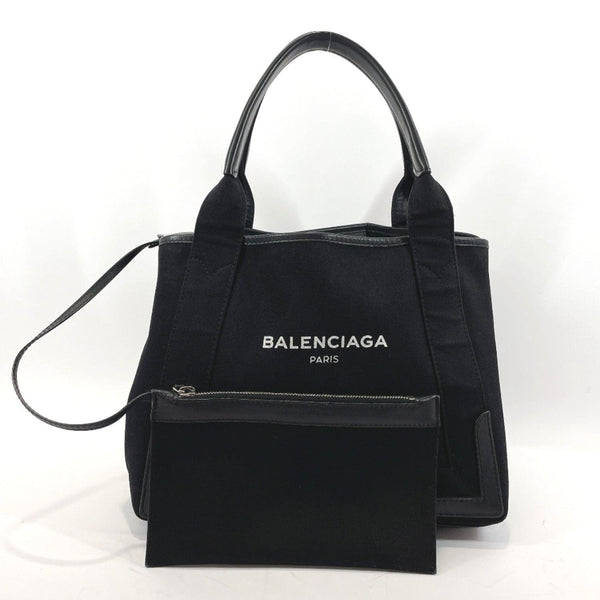 BALENCIAGA Tote Bag 339933.1090.A.535269 Navy Hippo S canvas black Women Used