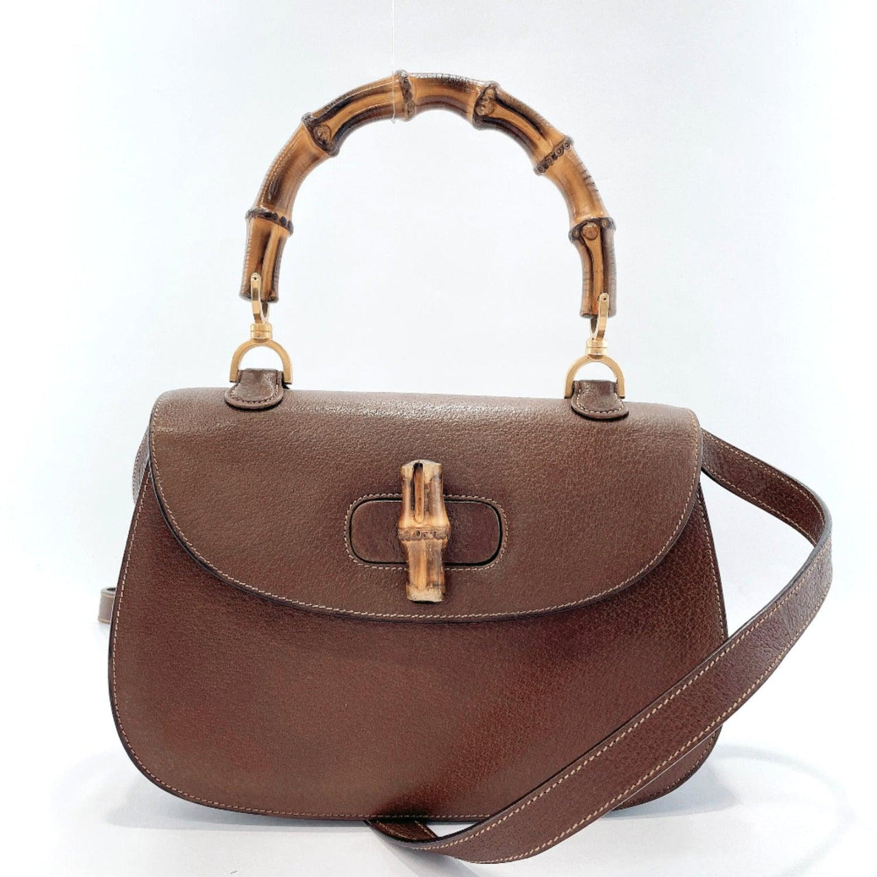 GUCCI Shoulder Bag Bamboo 2way vintage leather Brown Women Used