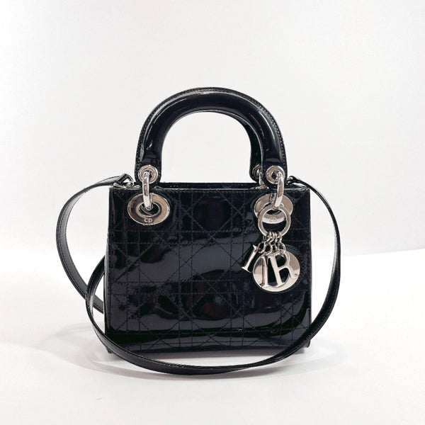 Christian Dior Handbag Lady Dior Mini Canage 2way Patent leather black SilverHardware Women Used