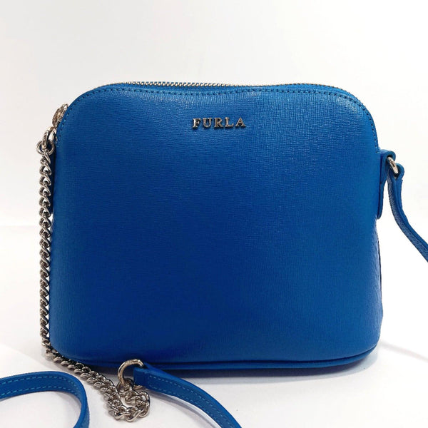 Furla Shoulder Bag 933982 leather/Gold Hardware blue Women Used