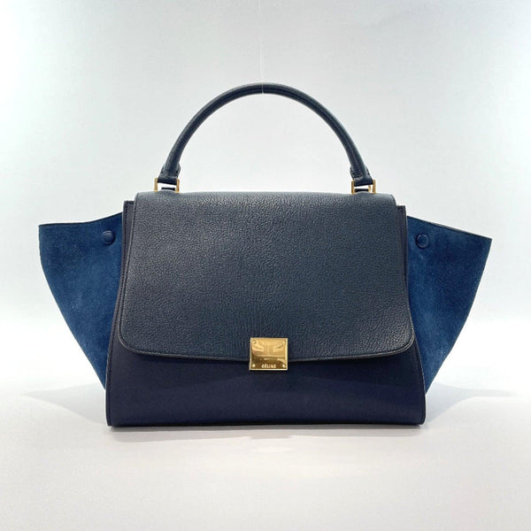 CELINE Handbag 169543ZTA.07OC Trapeze leather/Suede Navy Gold Hardware Women Used