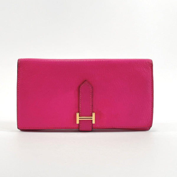 HERMES Tri-fold wallet Bean Shave pink □KCarved seal Women Used