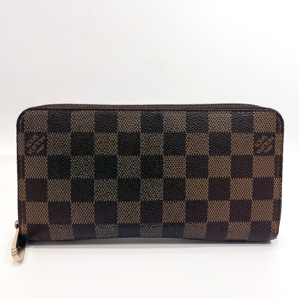 LOUIS VUITTON purse N41661 Zippy wallet Damier canvas Brown unisex Used