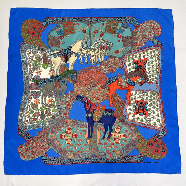 HERMES scarf Carre 90 silk blue Women Used