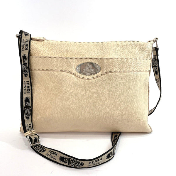 FENDI Shoulder Bag 8BT093 Celeria leather cream Women Used