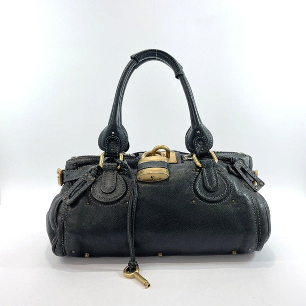 Chloe Handbag Paddington leather black Gold Hardware Women Used