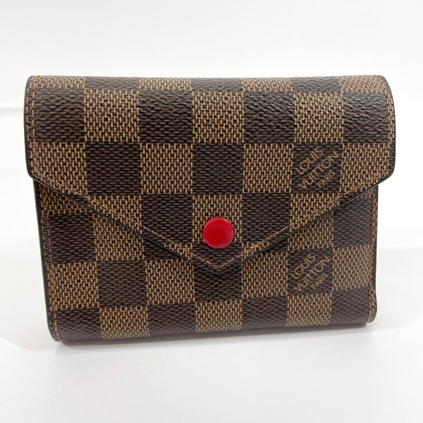 LOUIS VUITTON Tri-fold wallet N41938 Portefeiulle Victorine Damier canvas Brown Women Used