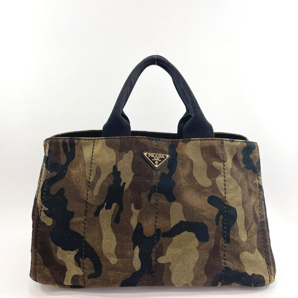 PRADA Tote Bag Canapa L camouflage canvas green Women Used