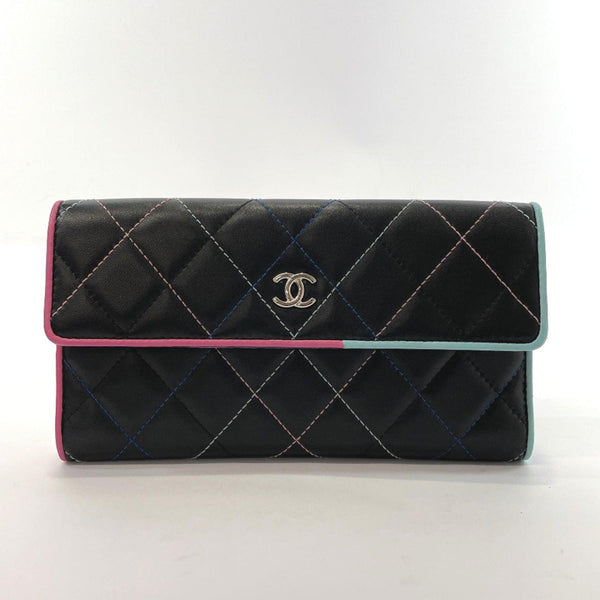 CHANEL purse 81906 Matelasse lambskin Black pink Women Used