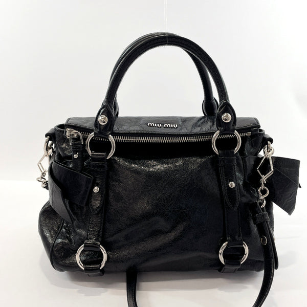 MIUMIU Handbag 2WAY leather/SilverHardware Black Women Used