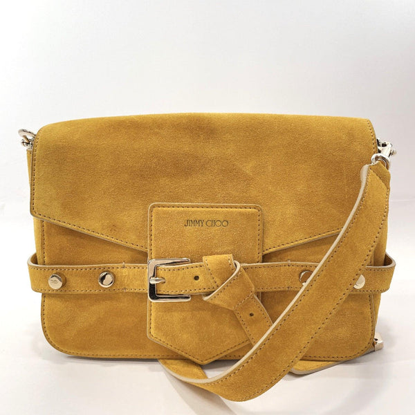 JIMMY CHOO Shoulder Bag LEXIE Rexy Suede yellow Women Used