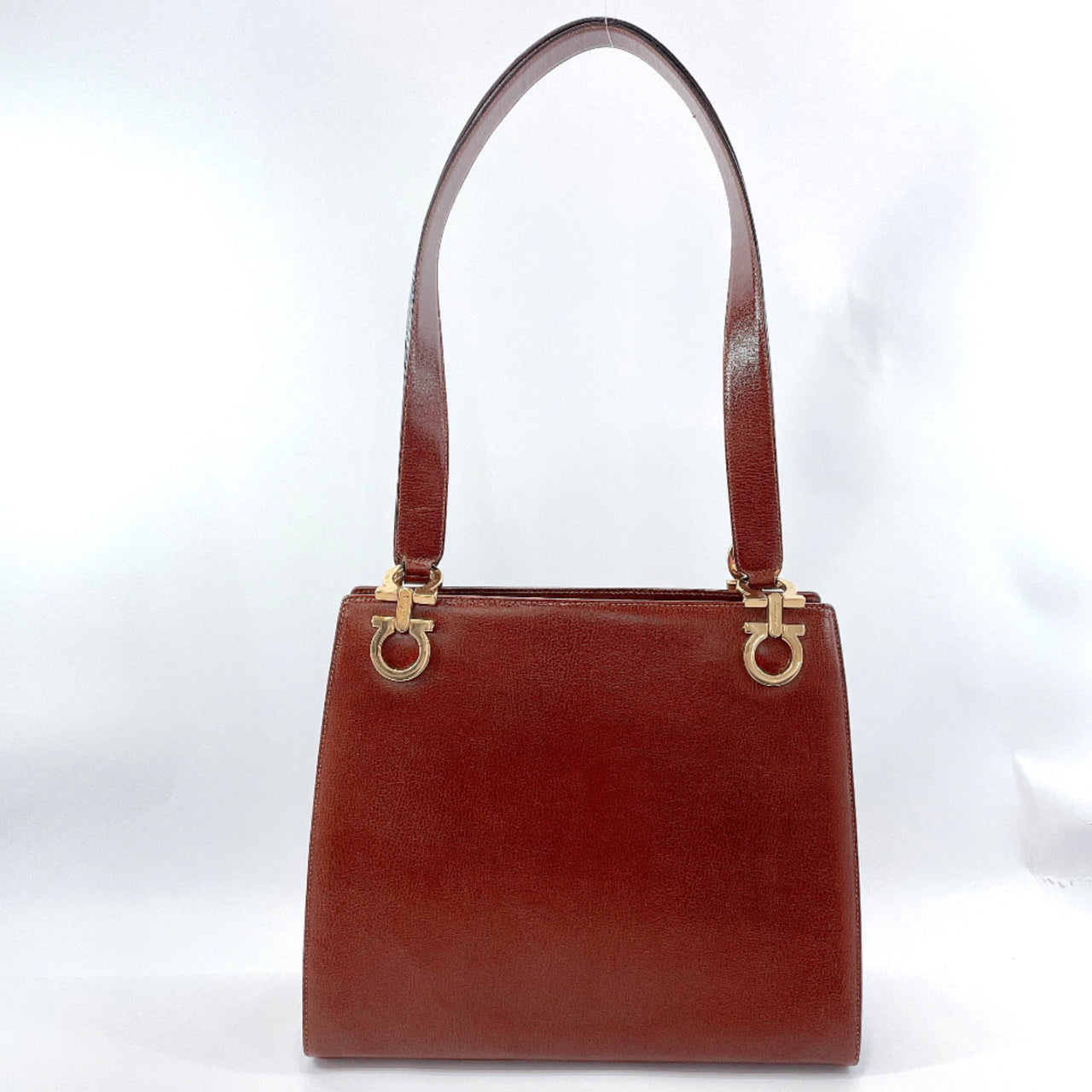 Salvatore Ferragamo Shoulder Bag BC216676 Gancini vintage leather Brown Gold Hardware Women Used