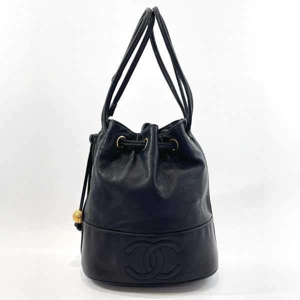 CHANEL Shoulder Bag COCO Mark drawstring type leather Black Women Used