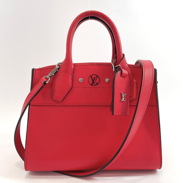LOUIS VUITTON Handbag M42624 City Steamer Mini leather Red Women Used