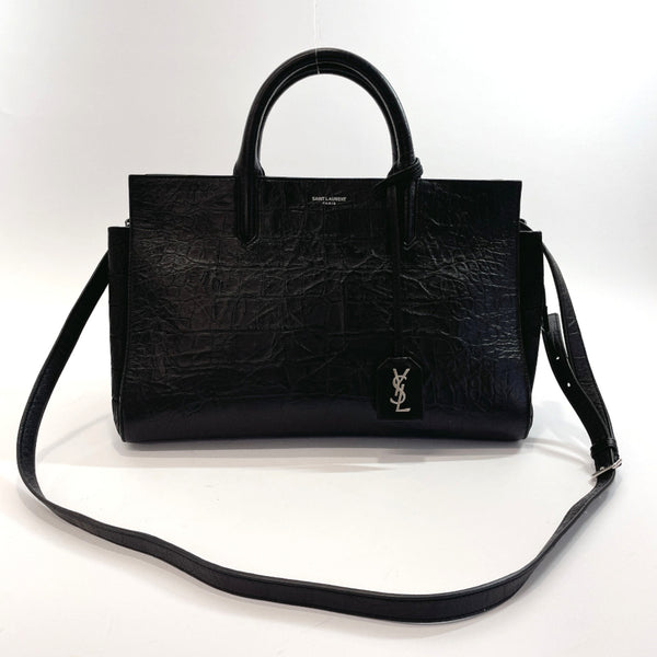 SAINT LAURENT PARIS Tote Bag VLR 400413.0516 Kaba Rive Gauche 2way embossing leather Black Women Used
