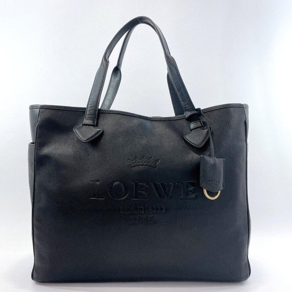 LOEWE Tote Bag leather Black unisex Used