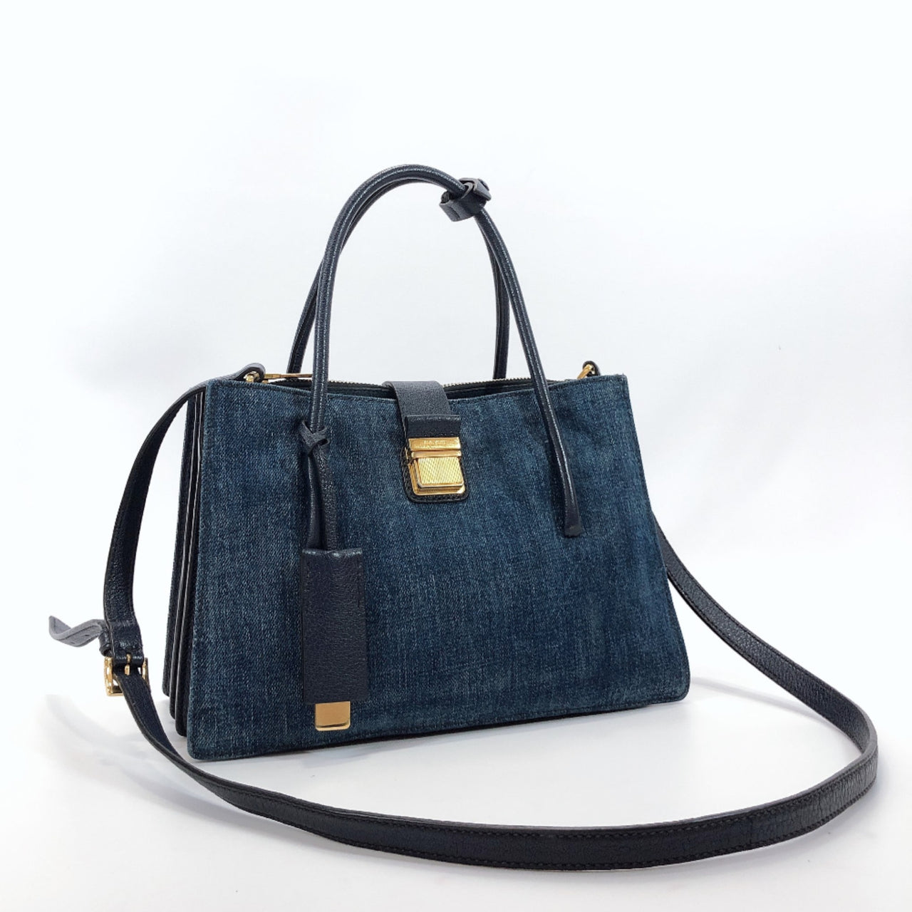 Miu Miu Handbag Madras 2way denim Navy Women Used
